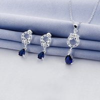 Wholesale fashion Hollow design silver necklace earring jewelry sets discount sterling silver blue gemstone set wedding GTFS094A