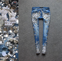 beads nail fashion - In the summer of the new nail bead ms cowboy minutes of pants manually set auger show thin jeans with drill sequins and feet