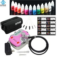 airbrush nail art equipment - Nail Tools Nail Art Equipment OPHIR mm Nail Airbrush Kit x Nail Inks Pink Air Compressor with Airbrush Nail Stencils amp Bag