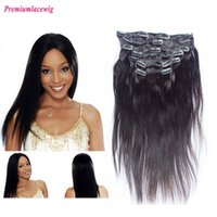 Wholesale Clip in Hair Grade A Peruvian Natural Straight Human Hair Natural Color Baby Hair Bleached Knots Hair Length inch Instock