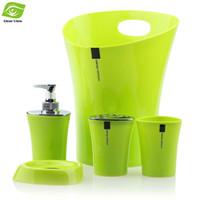 bathroom waste bins - 5pcs Bathroom Set Soap Dispenser Soap Dish Toothbrush Holder Tumbler Waste Bin Plastic Bathroom Accessories