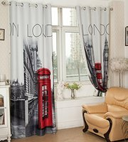 Wholesale 3D British Style London Blackout Curtain for Bedroom Living Room