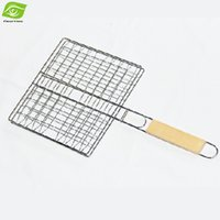 bbq fish basket - Nonstick Fish Grilling Basket for Roast Folding BBQ Tool Barbecue Fish Grill Net with Wood Handle