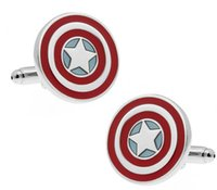 america pair - Mens Cufflinks French shirt cufflinks wedding cufflinks Super Hero Cufflinks Captain America The Flash Green Lantern Cufflink Pair Set