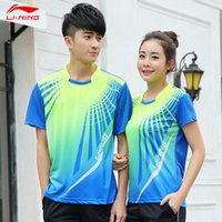 Wholesale Li Ning Men Breathable Badminton Shirt Round Neck Badminton Top Couple Model Plus Size AAYH053 AAYH152