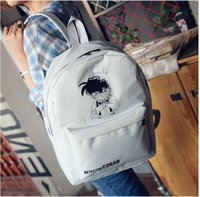 Wholesale 2016 Fashion Women Detective Conan Backpacks Students Canvas SchoolBag Computer Bags Black Grey cm cm cm