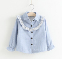 baby blouses - 2016 Baby Girls Lace Striped Shirts Kids Girl Princess Ruffle Blouse Girl Autumn Christmas Jumper Tops Babies Clothes