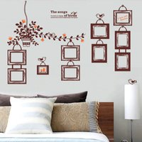 flower picture frame - Chic Brown Family Photo Pictures Album Frame Tree Plant Flower Mural Wall Sticker Home House Decor Living Room Decorative Decals