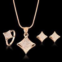 asian square plates - Necklace Earrings Ring Jewelry Set Luxury Fashion Women Rhinestone K Gold Plated Geometric Square Wedding Jewelry piece Set JS106