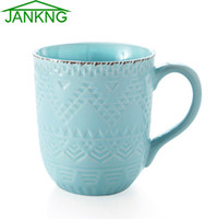 Wholesale JANKNG mL Relief Handmade Ceramic Mug Cups Western Style Water Bottle Blue White Coffee Milk Tea Mugs Birthday Girl Gift