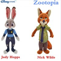 Wholesale 22cm Zootopia Nick Wilde and Judy Hopps plush Fox Rabbit Stuffed Cartoon Dolls Best Gift Cute Plush Toys