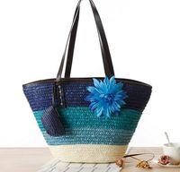 beach national - Knitted Straw bag Summer flower Bohemia fashion women s handbags color stripes shoulder bags beach bag big tote bags