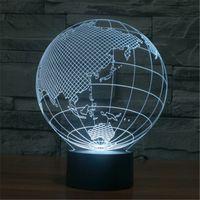 asia c - 3D Globe LED Home Decorative Bedside Desk Lamp USB World Map Europe Asia America VR Projection Christmas Nightlight C