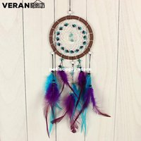 Wholesale Curtain Wall Decorations - 1pcs Antique Imitation Enchanted Forest Dreamcatcher Gift Handmade Dream Catcher Net With Feathers Wall Hanging Decoration Ornament