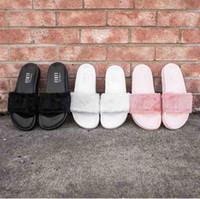 beach slippers women - 2016 Jointly Collaboration Style Rihanna Creeper Women Summer Slipper Fenty Outdoor Sandals Fashion Cool Women Girl Slipper Hot Sale