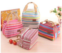 Wholesale 100Pcs Thermal Insulated Portable Cool Canvas Stripe Lunch Totes Bag Carry Case picnic lunch bag zipper bag lunch box