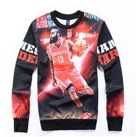 al por mayor animal crewneck sudadera-Venta al por mayor-2016 nuevo de las mujeres / de la camiseta de impresión 3D de la moda sudaderas James Harden Baloncesto cuello redondo de los hombres sudaderas deportivas Sudaderas