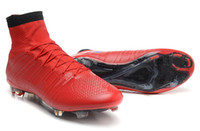 Wholesale Mercurial Bright crimson FG CR7 Soccer shoes Carbon bottom football sneakers Firm ground Training cleats shoes size
