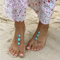 beaded anklets - Essential Girl Womens Barefoot Sandal Foot Jewelry Turquoise Beads Beaded Stretch Anklet Chain Tornozeleira Unique