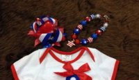 Wholesale 2015 hot sell baby girl July th bowknot romper with matching bow and necklace baby bibs with sleeves