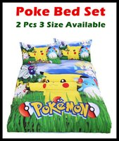 Wholesale drop ship In Stock Top Styles Pikachu poke mon Bedding sheet Children pokedall D Bedding Sets Cartoon