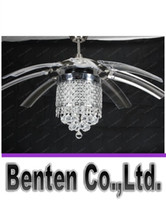 Wholesale Stealth LED fan lights with crystal wings off will hide modern minimalist restaurant dining cafe LLFA