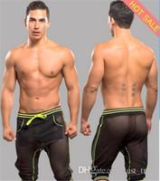 men capri pants - Hot Sexy shorts for men Net sheer Pants Fashion Mens Harem Capri Sport Athletic see Through Baggy Gym Jogger Shorts Trousers