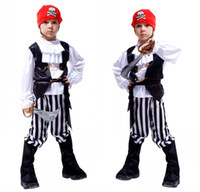 no brand 4-6T Stage Performance Halloween pirate Costumes kids Party Supplies Pirate Capain Jack Cosplay Boy Clothing Halloween Costume Kids Children Christmas Gifts A5680