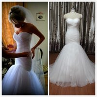 autumn china - Real Photo Ruched Tulle Wedding Dresses Mermaid from China Modest Cheap Vintage Chapel Train Corset Bridal Gown