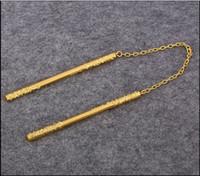 Wholesale Christmas Gift High Quality Mini Golden Stainless Steel Nunchakus Pendant Nunchuck Stick Performances Kung Fu Nunchakus Total Length cm