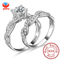 Wholesale Infinity Love Simulated Diamond Engagement Wedding Ring Sets Sterling Silver Sona Diamond Ring Women Bridal Jewelry ZR138