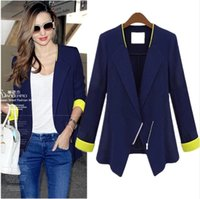 Wholesale Fashion Women Suit Blazer Foldable Jacket Elegant Slim Office Lady Business Top Zipper Shawl Cardigan Coat