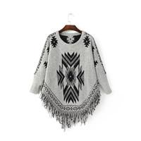 acrylic v neck sweaters - 2016081111 European style fashion personality diamond tassel sweater coat cloak Cloak