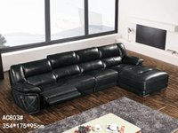 Wholesale GENIUINE LEATHER SOFA BLACK FASION MODERM NOBLE STYLE LIVING ROOM SIMPLE FURNITURE GOOD QUALITY R AC803