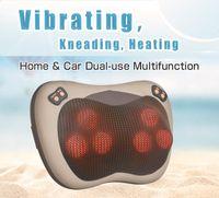 Wholesale Hot Sale JinKaiRui Vibrating Kneading Neck Massager Pillow Infrared Shiatsu Electric Shoulder Back Massager Car Cervical Vertebra Therapy