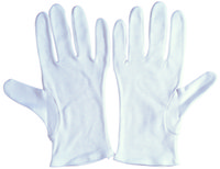 Wholesale Bleached interlock cotton gloves inserted reversible thumb pairts Bag price for one bag gloves