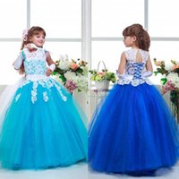 Cheap 2016 Arabic Lace Colorful Tulle Ball Gown Flower Girl Dresses Lovely Child Pageant Dresses Beautiful Flower Girl Dresses 065
