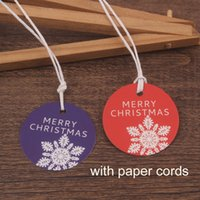 Wholesale Red Purple Round Christmas Cards with paper cords Message Labels Packaging Greeting Cards