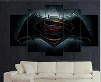 batman logo pictures - Print Batman V Superman dawn of justice Movie logo poster Painting on Canvas art kids children wall decor picture