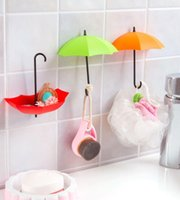 Wholesale 3 Pack Colorful Umbrella Wall Hook KEY Coin Hair Pin Holder Decorative Wall Mounted Storage Rack for Bathroom Kitchen Hallway