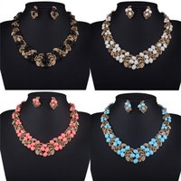 bib necklace set - Fashion Jewelry Vintage Shiny Crystal Beauty Statement Bib Necklace Earring Set