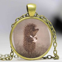 american hedgehog - Hedgehog In The Fog Silver Pendant Necklace Long Chian Statement Handmade Fashion Necklace For Women