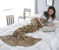 Wholesale A mermaid tail fish fish tail cotton blanket knitted blanket