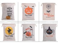 bag caps - New Arrival Cotton Canvas Drawstring Halloween Bag of Treat Spider With Cap styles For Choose Santa Claus Drawstring Bags Reindeers Cotton