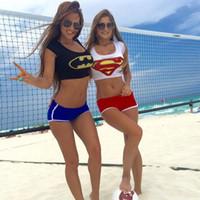 batman bathing suits - Sexy Girl Summer Super Heroes Superman Batman D Print Swimsuit Swimwear Women Beach Bathing Suit Casual Tops Shorts