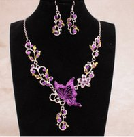 Wholesale Fashion bride Necklace Set retro necklace and folk style butterfly flower bride jewelry