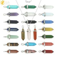 Wholesale CSJA Semi precious Bullet Shape Natural Stone Pendant Real Amethyst Women Chakra Gem Stones Quartz Crystal Necklaces Summer Jewelry E056