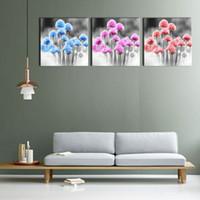 Горской Цветы Безрамные Картины Холст Современное искусство 3-х штук Живопись Печать на холсте Картина для домашнего декора