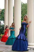 Wholesale 2016 Pageant Evening Gowns Tassel Off Shoulder Girls Pageant Dresses Floor Length Satin Tulle Mermaid Evening Dresses