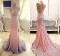 Wholesale 2016 Real Image Pink Mermaid Evening Dresses Sheer Jewel Neck Vestios De Festa Illusion Button Back Lace Appliqued Prom Party Gowns BA2086